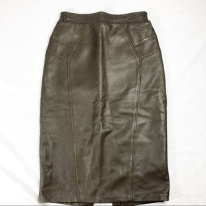 Vintage brown leather pencil skirt like new